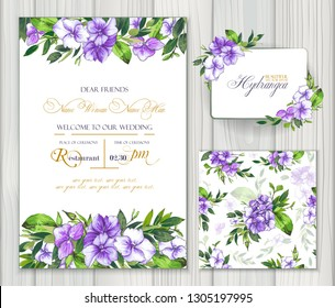 Set of vector templates for greetings or invitations to the wedding and one seamless pattern with purple hydrangea. Invitation card, frame and floral elements for creative own design.
