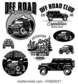 set of vector templates for SUVs off-road sport club logos