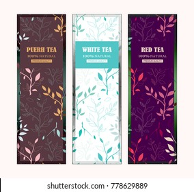 Set of vector templates for tea packages, labels or stickers for puerh, white, red tea. Herbal, branches and leaves illustration, simple flat style. Different colors for each sort of tea