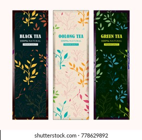 Set of vector templates for tea packages, labels or stickers for black, green, oolong tea. Herbal, branches and leaves illustration, simple flat style. Different colors for each sort of tea
