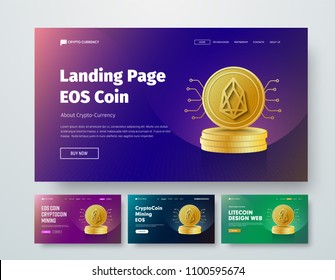 set of vector templates web header with gold stacks of coins EOS and elements of microcircuits. Design a banner with purple, green and blue gradients, buttons and header.