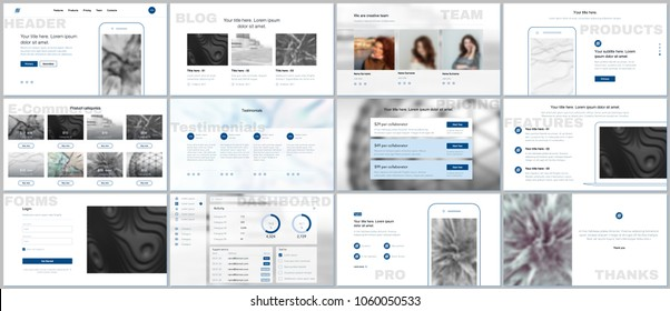 Set of vector templates for website design, minimal presentations, portfolio. Simple elements on white background. Templates for presentation slides, flyer, leaflet, brochure cover, annual report.