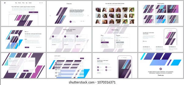 Set of vector templates for website design, minimal presentations, portfolio. UI, UX, GUI. Design of headers, dashboard, contact forms, features page, pricing, testimonials, e-commerce page, blog etc
