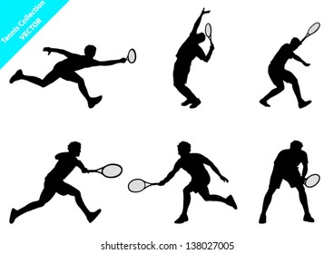 Set of Vector Tennis player Silhouettes