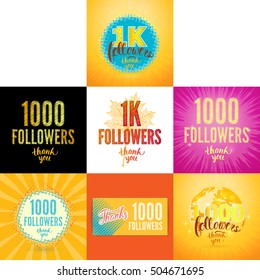 Set of Vector Thank you 1000 followers cards. Thanks design template for network friends and followers. Image for Social Networks. Web user celebrates subscribers and followers. One thousand followers