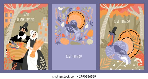 Set of vector thanksgiving cards with people in pilgrim costumes and turkey on the background of the autumn forest, fruits and vegetables. Images in flat style