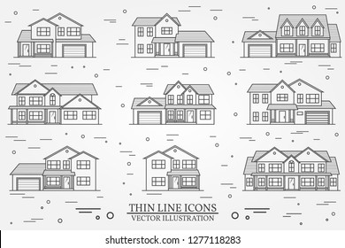 Set of vector thin line icon suburban american houses. For web design and application interface, also useful for infographics. Vector dark grey. Vector illustration.