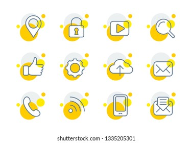 Set of vector thin line icons with circular elements - pin, lock, player, loupe, thumbs up, gear, cloud, mail, phone handset, wi-fi, cell phone, envelope with yellow bubbles