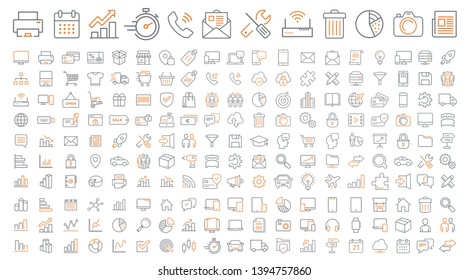 set of vector thin line icons