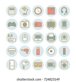 Set of vector thin linear icons. Household and office appliances