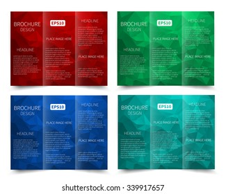 Set of vector three-fold brochure design templates with abstract geometric background EPS10 Tri-Fold Mock up & back Brochure Design
