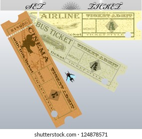 Set of vector tickets aircraft, car, cinema. EPS10