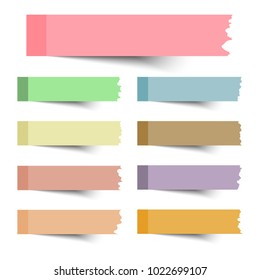 Set of vector torn note paper on white background,vector illustration