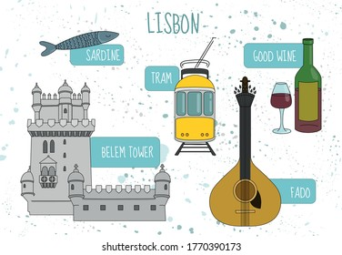 Set of Vector Tourist Attractions of Lisbon