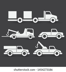 Set vector of towing truck icons. Eps 10 vector illustration.
