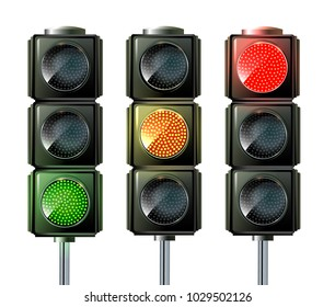 Set of Vector Traffic Lights isolated on white. Traffic light sequence vector. Red, yellow, green lights - Go, wait, stop.