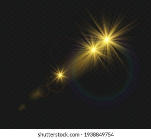 Set of vector transparent flash light effect; sunlight special lens. Bright gold flashes and glares