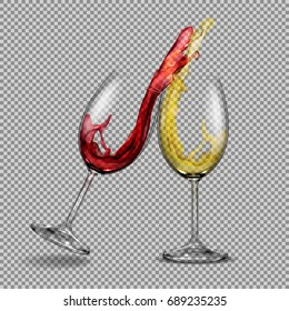Set vector transparent glasses with white and red wine with a splash out of them, festive toast. Print, template, design element