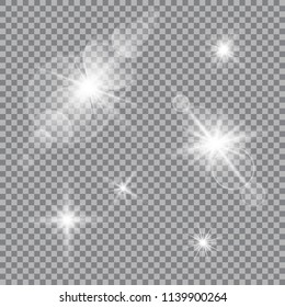 Set of vector transparent sun flash with rays and spotligh.