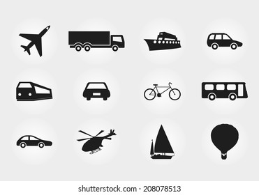 Set of vector transport black silhouette isolated - plane, bus, truck, bike, car, jet, ship, boat, air balloon