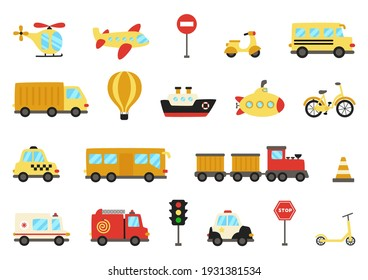 Set of vector transportation means in flat style. Collection of transport. - Shutterstock ID 1931381534
