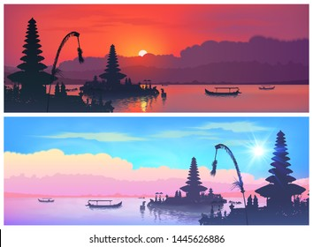 Set of vector travel banners with balinese landscapes of traditional Bali temple silhouettes and fisherman boats on sunset and sunrise sky background