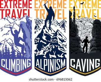 set of vector travel flayer template illustration -  caving, climbing, alpinism mountaineering