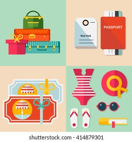 Set of vector travel signs: summer vacation, beach rest, sun, sea, mask, hat, suitcases, clothes, shoes, passport, tickets, book. Vector flat background and objects illustrations