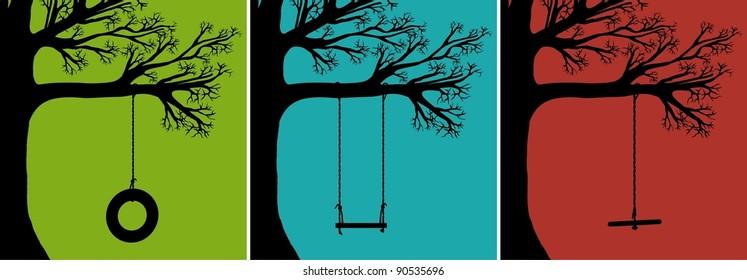 Set of Vector Tree Swings