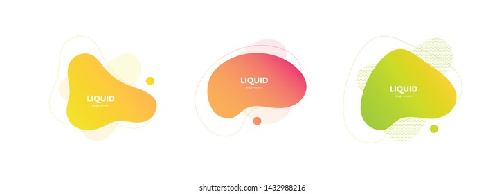 Set of vector trendy abstract amoeba banner. Neon color gradient in liquid style frame on white background. Collection of modern design element of a poster, logo, flyer of presentation, card.