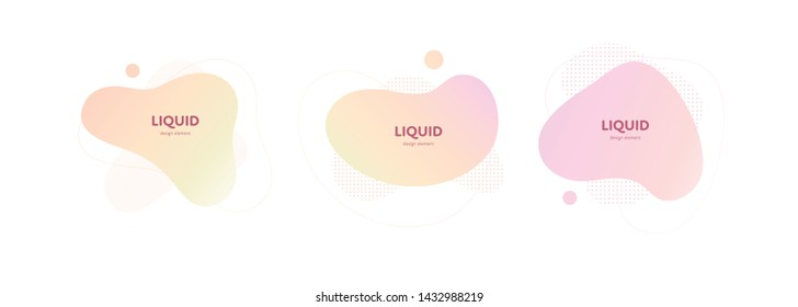 Set of vector trendy abstract amoeba banner. Pastel color gradient in liquid style frame on white background. Collection of modern design element of a poster, logo, flyer of presentation, card.