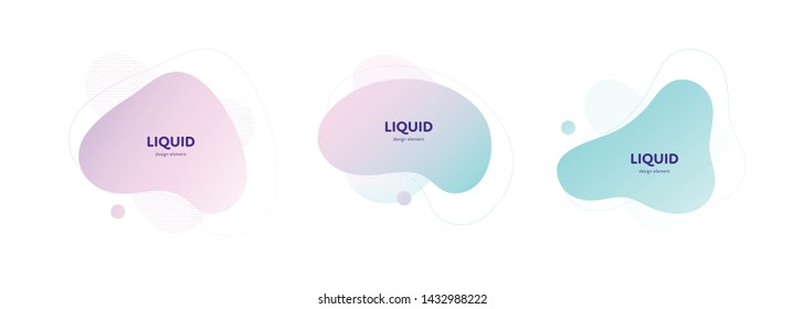 Set of vector trendy abstract amoeba banner. Pastel color cian, pink, violet gradient in liquid style frame on white background. Template for trendy design of a poster, logo, flyer of presentation.