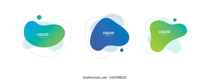 Set of vector trendy abstract amoeba banner. Neon color light gradient in liquid style frame on white background. Collection of modern design element of a poster, logo, flyer of presentation, card.