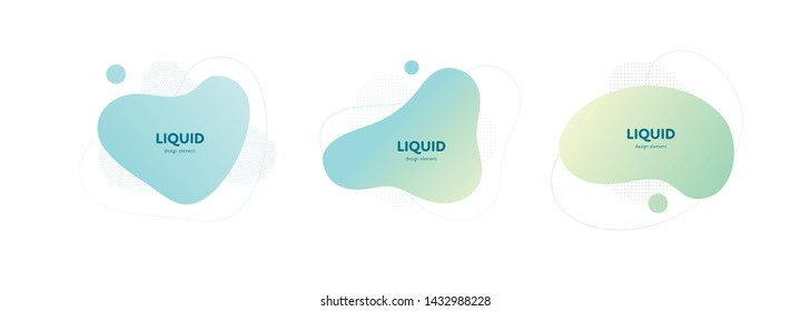 Set of vector trendy abstract amoeba banner. Pastel color cian, blue, green gradient in liquid style frame on white background. Modern design element of a poster, logo, flyer of presentation, card.