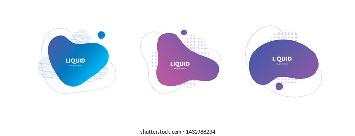 Set of vector trendy abstract amoeba banner. Neon color bright gradient in liquid style frame on white background. Collection of modern design element of a poster, logo, flyer of presentation, card.