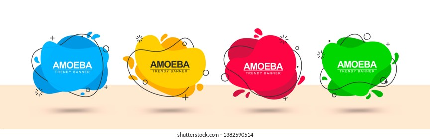 Set of vector trendy abstract banners. Flat geometric shapes in memphis design style. Template ready for use in web or print design.