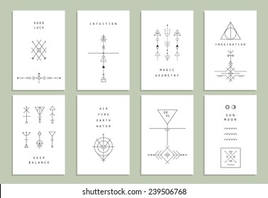 Set of vector trendy cards with geometric icons. Alchemy symbols collection. Religion, philosophy, spirituality, occultism.