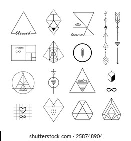 Set of vector trendy geometric icons and logotypes. Alchemy symbols collection. Religion, philosophy, spirituality, occultism.