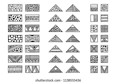 Set of vector tribal signs, symbols, icons. Hand drawn elements for patterns, wallpapers, fabric. Black and white collection. Triangles, squares, rectangles