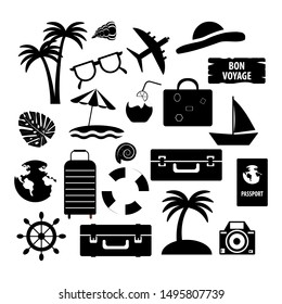 set of vector tropical icons on a white background, palm and suitcase and boat with black fill