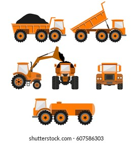 Set of vector trucks - dumper, front loader and tank truck