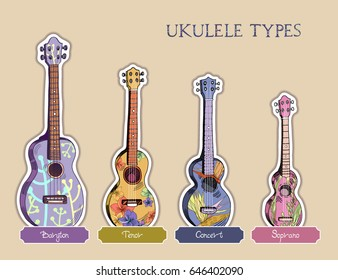 Set of vector ukuleles with hawaiian floral pattern. Signed with lettering.