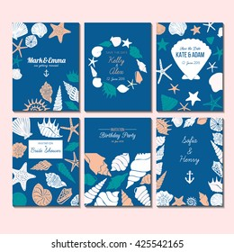 Set of vector universal card templates with nautical theme - sea shells and starfish silhouettes hand drawn illustrations. Design concept for bridal shower, beach party, save the date invitations.