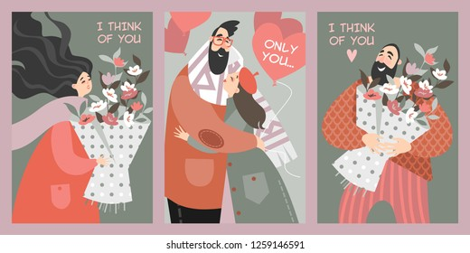 Set of vector Valentines day cards in cartoon style. Happy people with bouquets of flowers and couple with balloons