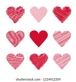 Set vector for valentine's day.Set red heart hand drawn.