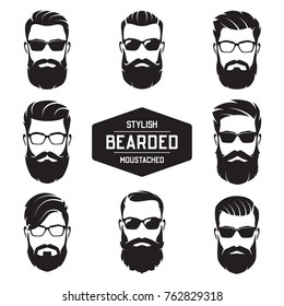Set of vector various bearded men faces with different haircuts, mustaches, beards. Silhouettes, avatars, heads, emblems, icons, labels.