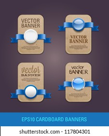 A set of vector vertical cardboard paper promo banners decorated with blue ribbons and various buttons / seals