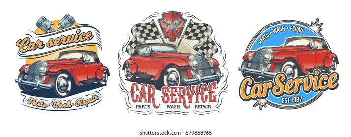 Set of vector vintage badges, stickers, signage for car service, wash, store of spare parts with red retro car, isolated on white. Print, template, design element for advertising