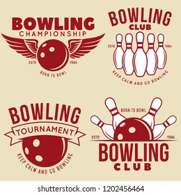 Set of vector vintage bowling logo, icons and symbols. Bowling ball and bowling pins illustration. Trendy design elements. Vector illustration.