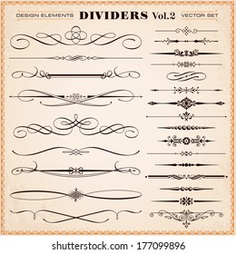 Set of vector vintage calligraphic design elements and page decoration, dividers and dashes